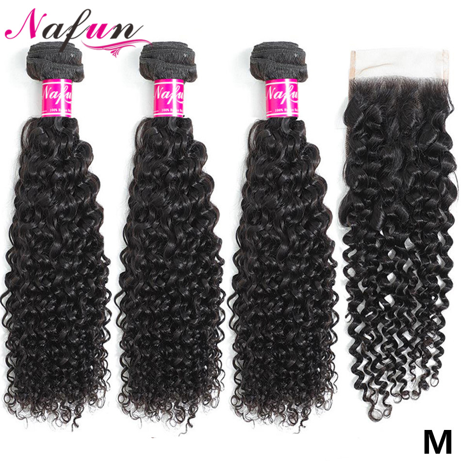 Pacotes encaracolados kinky do cabelo de nafun com fechamento do cabelo humano tecer pacotes com fechamento peruano não remy extensão do cabelo relação média