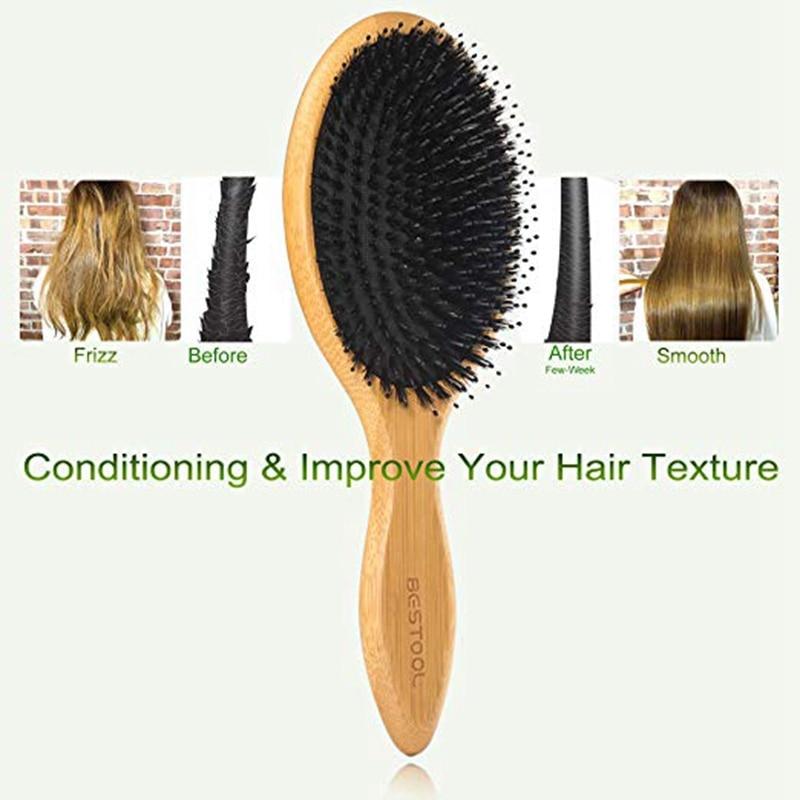 Hair Brush Boar Bristle Hair Brush With Nylon Pins Bamboo Paddle Detangler Brush Detangling Adding Shine Brushes Daily Use For