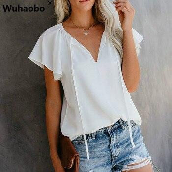 Camisetas blancas Wuhaobo para mujer, camisetas de verano de manga corta, camisetas sólidas para mujer, camisetas con cuello en V para mujer, ropa de moda para mujer