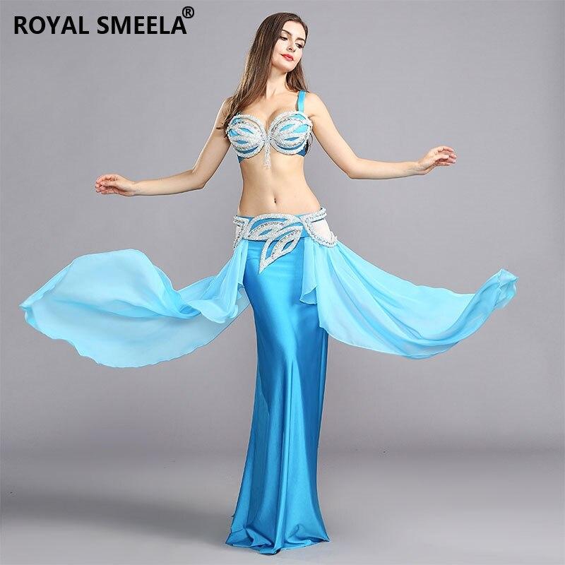 New Sexy Belly Dance Suit Professional Bellydance Dress Wear Shine Rhinestone Blue Performance Costume:BRA&Belt&Skirt