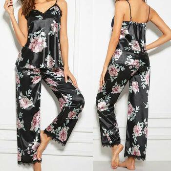 Fashion Women Ladies Pyjamas Set V-Neck Lace Floral Printed Sleeveless Nightwear Loungewear Homewear Black Pyjamas Women black printed scoop neck sleeveless mini gym tops