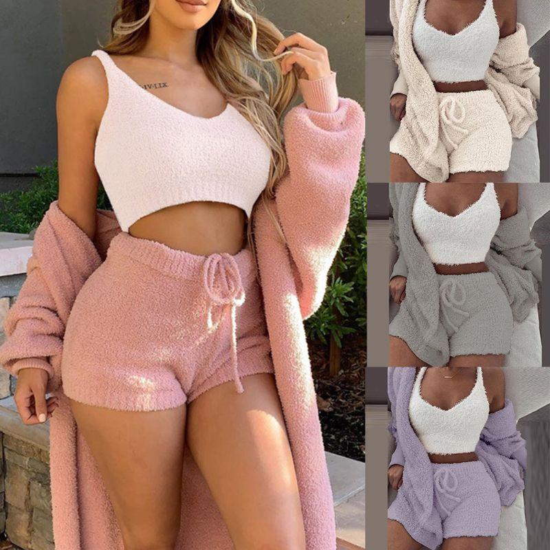 3 Pcs/set Winter Sexy Women Home Wear Suit Casual Pajamas Set Lady Female Soft Warm Long Sleeve Exposed Navel Vest Shorts Set