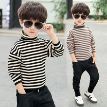 Autumn Winter Boy Sweater Kids Turtleneck Striped Cardigan Children Clothes Boys Thicken Knitwear Christmas