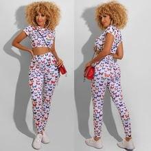 Женский костюм с цветным принтом бабочки лето 2020 футболка