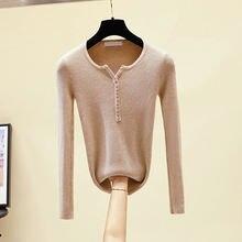 2019 Повседневный свитер на пуговицах с v образным вырезом Женский