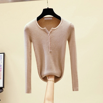 2019 casual v-neck button Sweater Women Solid spring autumn female Knit Cashmere sweater Pullovers Soft Gentle color Jumper top solid ribbed knit roll neck jumper