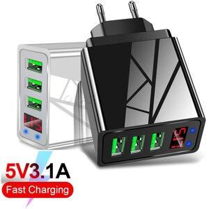 Цифровой дисплей 5V 3.1A USB зарядное устройство 3 USB порта Быстрая зарядка настенный умный мобильный телефон Автомобильная зарядная головка дл...