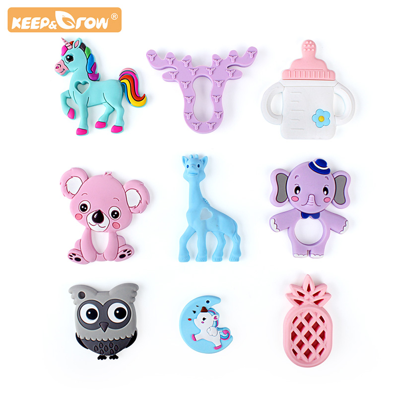 Keep&Grow Silicone Teether Cartoon Baby Teether Food Grade BPA Free Baby Teething Chew Charms Silicone Beads Toy Gift