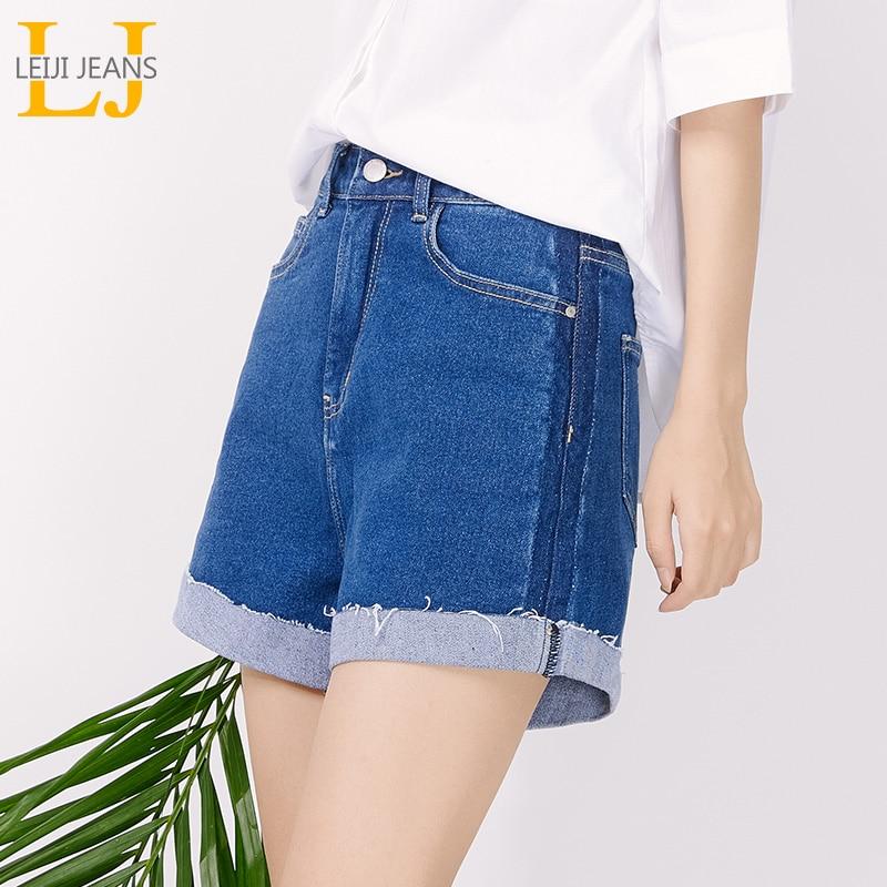 LEIJIJEANS New Large Size Women's Summer Dark Blue Denim Shorts Fashion Curling College Girls Large Size Denim Shorts