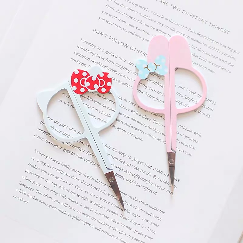 1pc Kawaii HelloKitty Multifunctional Scissors Stationery Office Scissors Paper Cutting Eyebrow Trimmer Razor Eyebrow Scissors