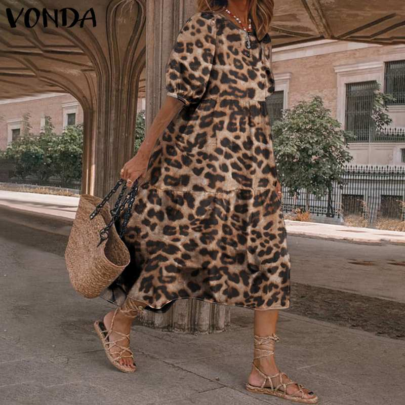 Bohemian Midi Dresses VONDA Fashion Leopard Print Dress Women Puff Short Sleeve Summer Dress Casual Vestidos Elegant Robe S-5XL