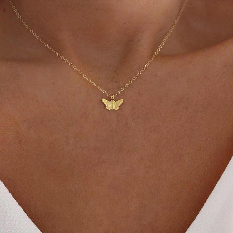 Fashion Kalung Kalung Indah Emas Kupu-kupu Berlapis Perak Kalung Pendek Wanita Musim Panas Liburan Romantis Hadiah Perhiasan Wholesal