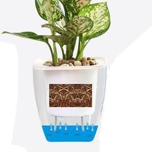 4/8Pcs Square Transparent Auto Irrigate Self Watering Pot Garden Planter Modern Flower Pot Garden Pot - White + Transparent G109
