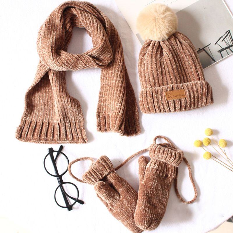Toddler Boys Girls Baby Pompom 3 Pieces Beanie Hat Scarf Gloves Set Ribbed Knitted Cuffed Cap Kids Winter Outdoor Sport Warmer