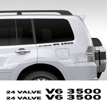 Autocollants en vinyle 24 soupapes V6 3500, 2 pièces, accessoires de décoration de carrosserie pour voiture, pour Mitsubishi Pajero Delica Shogun Montero L200 L300 V20