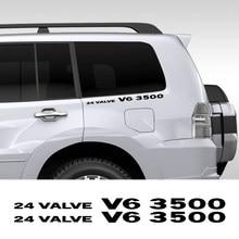 2PCS 24 Ventil V6 3500 Vinyl Auto Aufkleber Für Mitsubishi Pajero Delica Shogun Montero L200 L300 V20 Auto Körper decor Zubehör