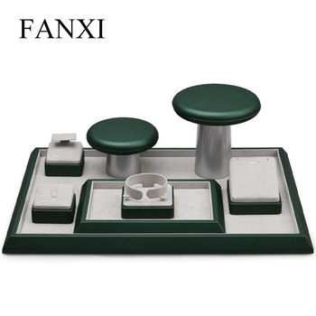 Oirlv PU Leather Jewelry Display Set Ring Necklace Organizer Tray Dark Green Jewelry Display Stand Earring Rack Holder oirlv luxury silver gray jewelry display tray earring ring pendant necklace display tray holder jewelry showcase box organizer