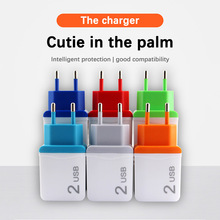 цена на 5V 2.1A EU Plug Dual Double USB Charger All Mobile phone USB Cable Adapter For Samsung s10 Huawei P30 pro Universal Wall Charger