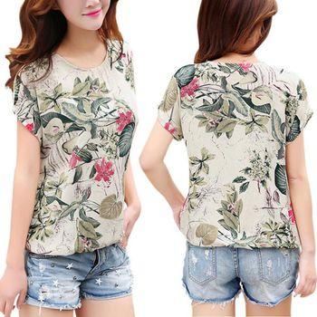 Women's Floral Print Blouses ladies Shirts Summer Tops Casual Blouse Shirt Plus Size 4