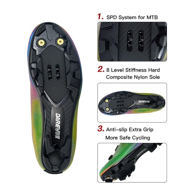 Darevie 2020 sapatos de ciclismo camaleão mtb ciclismo luz pro mountain bike sapatos spd reflexivo professionl 3