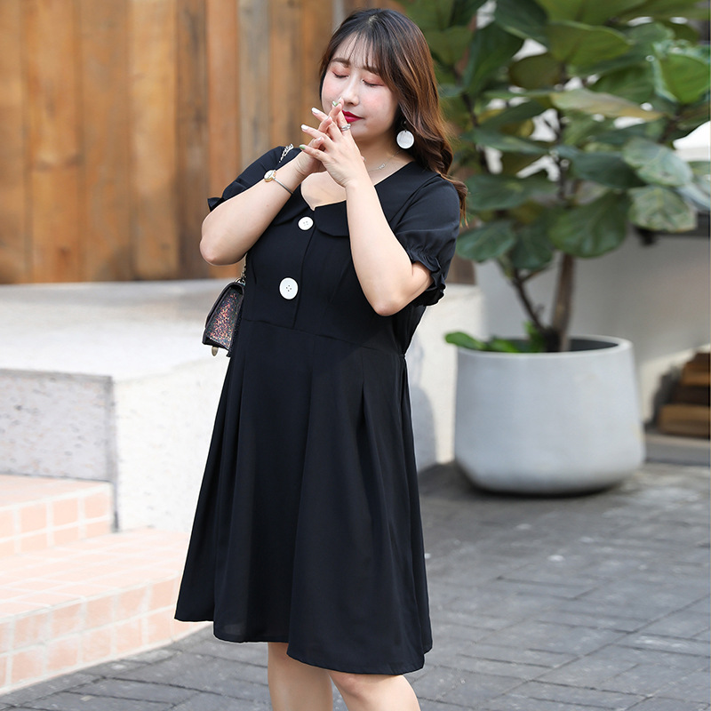 [Xuan Chen] Summer New Products Very Fairy French Non-mainstream Peter Pan Collar Dress Large GIRL'S Plus-sized Skirt W022
