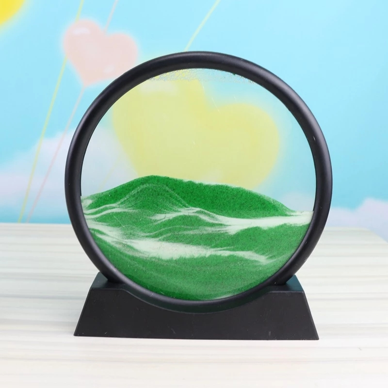 7/12 polegada movente areia arte imagem de vidro redondo 3d profundo mar sandscape em movimento exibição fluindo areia quadro