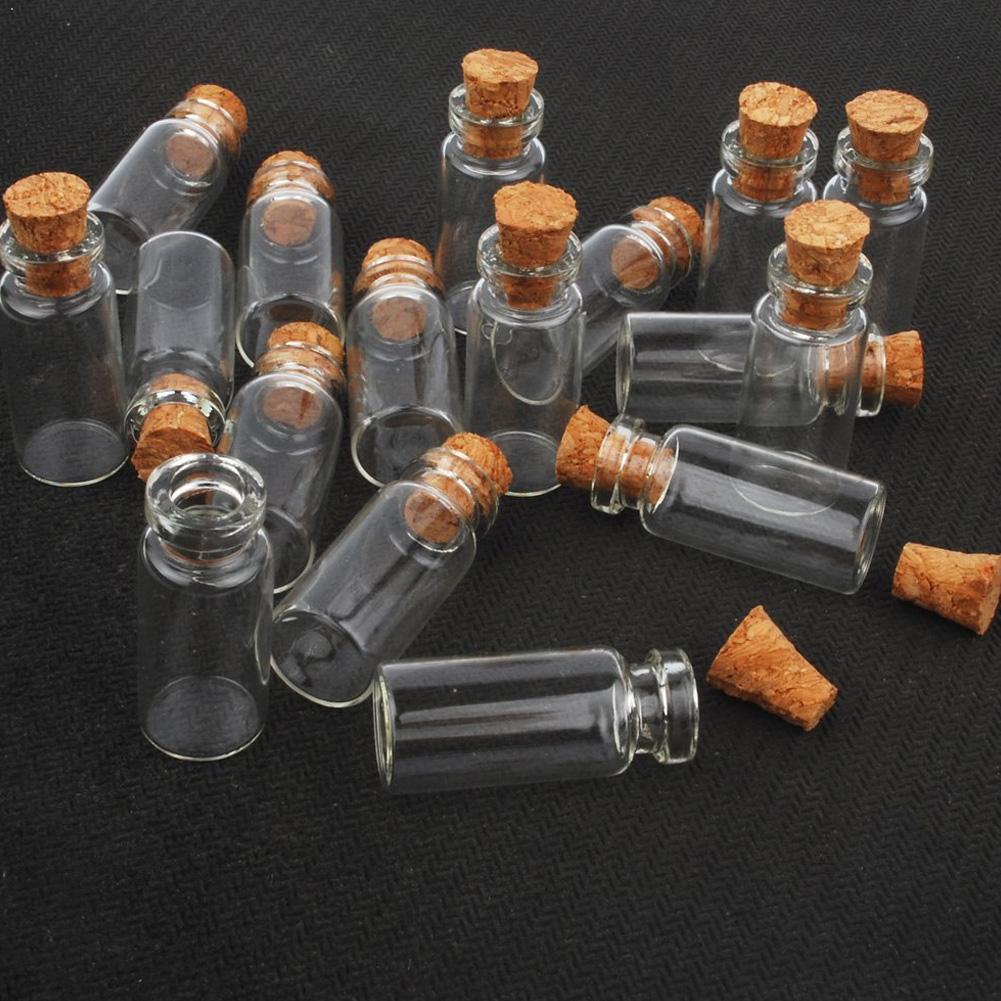 10 adet Mini küçük cam şişeler ile şeffaf mantar tıpa kavanozları küçük düğün viyalleri 24x12mm mesaj Favor konteynerler takı
