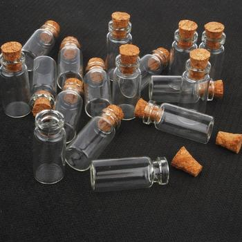 10pcs Mini Small Glass Bottles with Clear Cork Stopper Jars Tiny Wedding Vials 24x12mm Message Favor Containers Jewelry