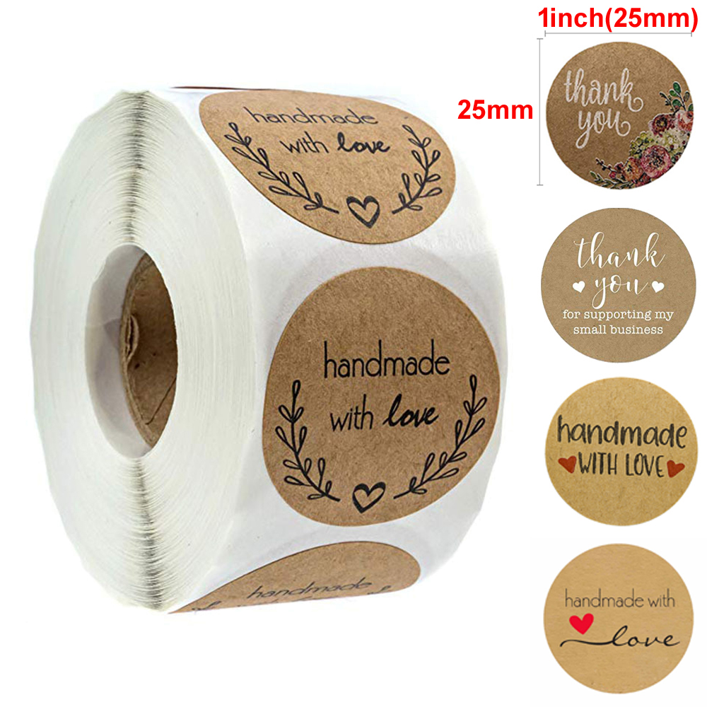 500pcs Kraft /brown Label Stickers For Wedding/anniversary/birthday Party Favor On Bag/boxes/baked Goods Sealing Bag Stickers