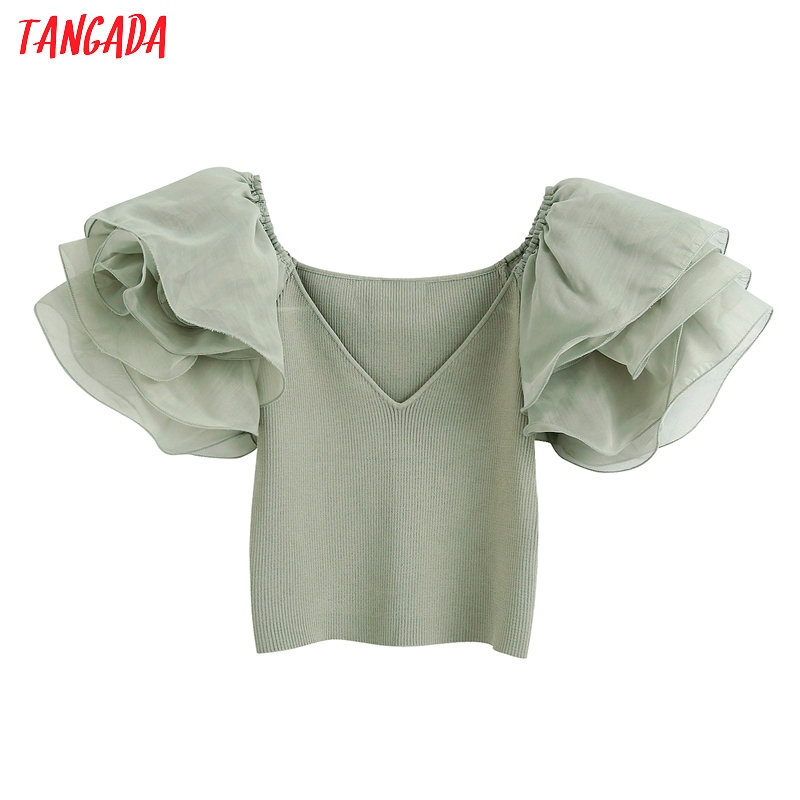 Tangada Women Green Crop Shirt Mesh Patchwork Short Sleeve 2020 Summer Chic Female Sexy Slim Top BE522