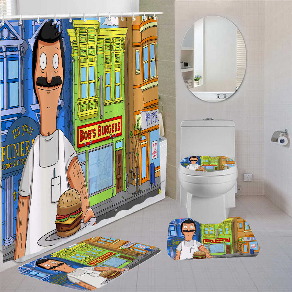 4 pieces curtains bob s burgers shower curtain happy burger kids bath sets comedy cartoon comfortable bathroom shower curtain