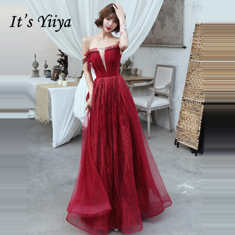 It's Yiiya Evening Dress 2019 Burgundy Sequins Backless Lace Up Formal Dresses Elegant Boat Neck Sleeveless Robe De Soiree E1324