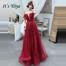Its Yiiya Evening Dress 2019 Burgundy Sequins Backless Lace Up Formal Dresses Elegant Boat Neck Sleeveless Robe de Soiree E1324