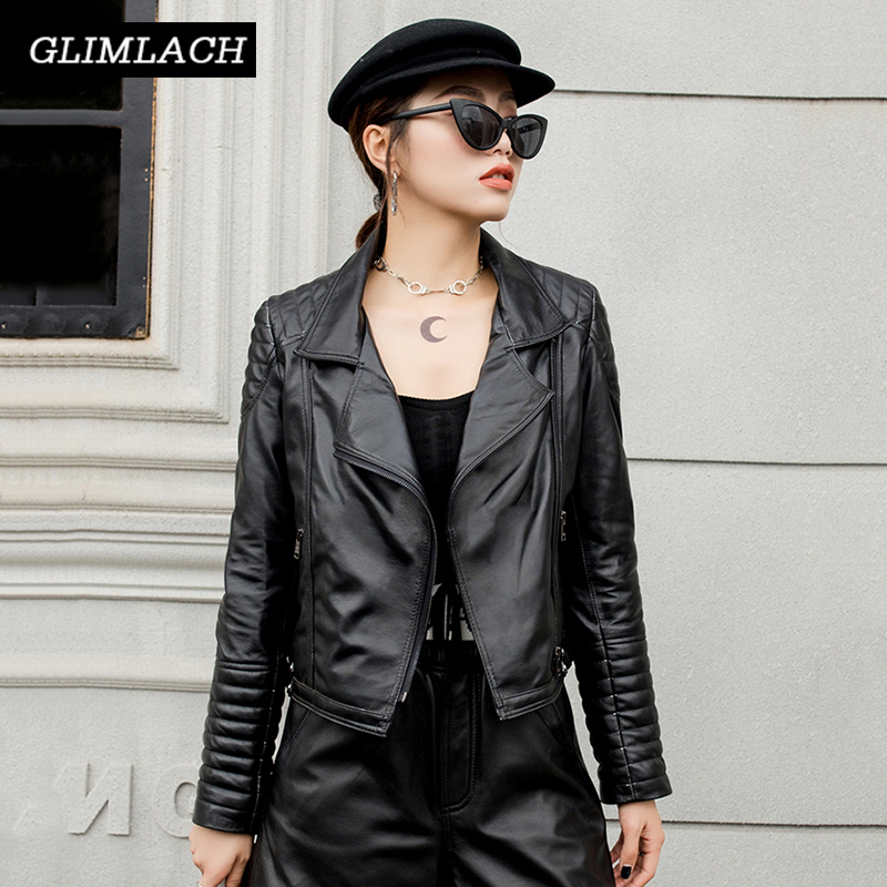 Real Leather Coat Office Lady Black Slim Fashion Short Genuine Leather Lambskin Jacket Women Quality Outerwear Autumn Clothes