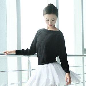 Image 4 - Kobiety taniec baletowy sweter zimowy dorosły z długim rękawem Knit Wrap taniec topy balet rozgrzewka