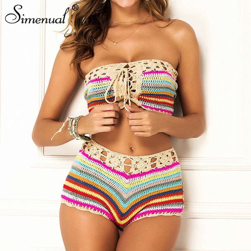 Simenual Striped Crochet Sexy Hot Beachwear Two Piece Sets Lace Up BOHO Handmade Summer Fashion Bathing Suit Top And Shorts Set