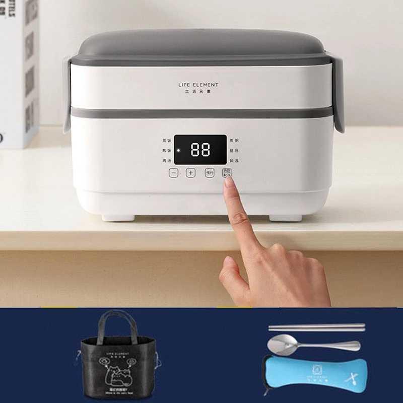 220V wielofunkcyjny elektryczne pudełko na Lunch podwójne wkładka ze stali nierdzewnej izolacji przenośne ciepła pary elektryczne urządzenie do gotowania ryżu biuro