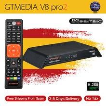 Gtmedia-Receptor satélite para televisión digital, dispositivo para televisión full HD H-265, con DVB-S2, DVB-T2 y DVB-C, ISDBT, Wifi integrado, mejor que freesat v8 golden, modelo V8 Pro2