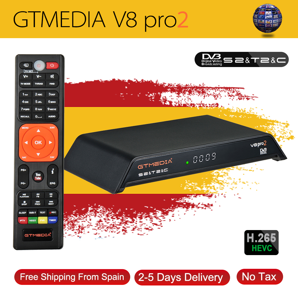 Gtmedia V8 Pro2 Receptor H.265 Full HD DVB-S2 DVB-T2 DVB-C Isdbt Satellite Receiver Built-in WiFi Better Than Freesat V8 Golden