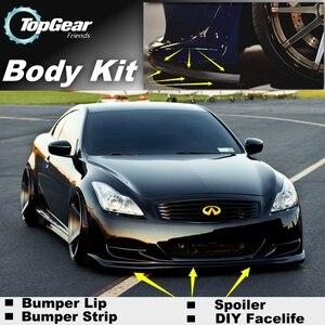 Para Infiniti G Series G20 G35 V35 G25 G37 Q40 Q60, Deflector de Parachoques/alerón delantero para personalización de automóviles/Kit de carrocería/falda de tira