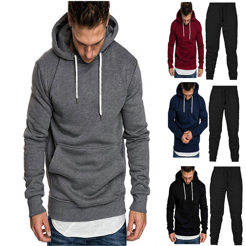 2 Piece Sets Tracksuit Men New Brand Autumn Winter Hooded Sweatshirt +Drawstring Pants Male Solid Stripe Hoodies Sportwear Suits