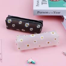 1 sztuk Daisy piórnik torba przezroczysty Daisy cukierki kolorowy prezent piórnik szkolny piórnik szkolne materiały biurowe papiernicze