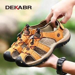 Image 4 - DEKABR جلد طبيعي الصنادل لينة في الهواء الطلق حذاء كاجوال الرجال العلامة التجارية الصيف الأحذية الجديدة كبيرة الحجم 38 48 رجل الموضة الصنادل