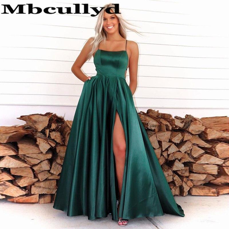 Mbcullyd Emerald Green Prom Dresses Long Split 2020 Sexy Corss Backless Evening Party Dress Cheap Vestidos De Fiesta De Noche