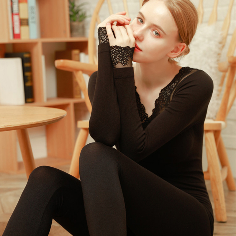 Women Lace Thermal Underwear Winter Long Johns For Female Thin Thermal Set Seamless Body Suit Warm Clothes Ladies Tops+Pants
