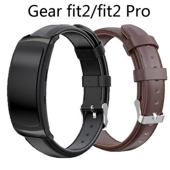 Correa de piel auténtica para Samsung gear fit 2, Correa fit2 Pro con adaptador, bandas de reemplazo, pulsera de SM-R365, SM-R360 antipérdida