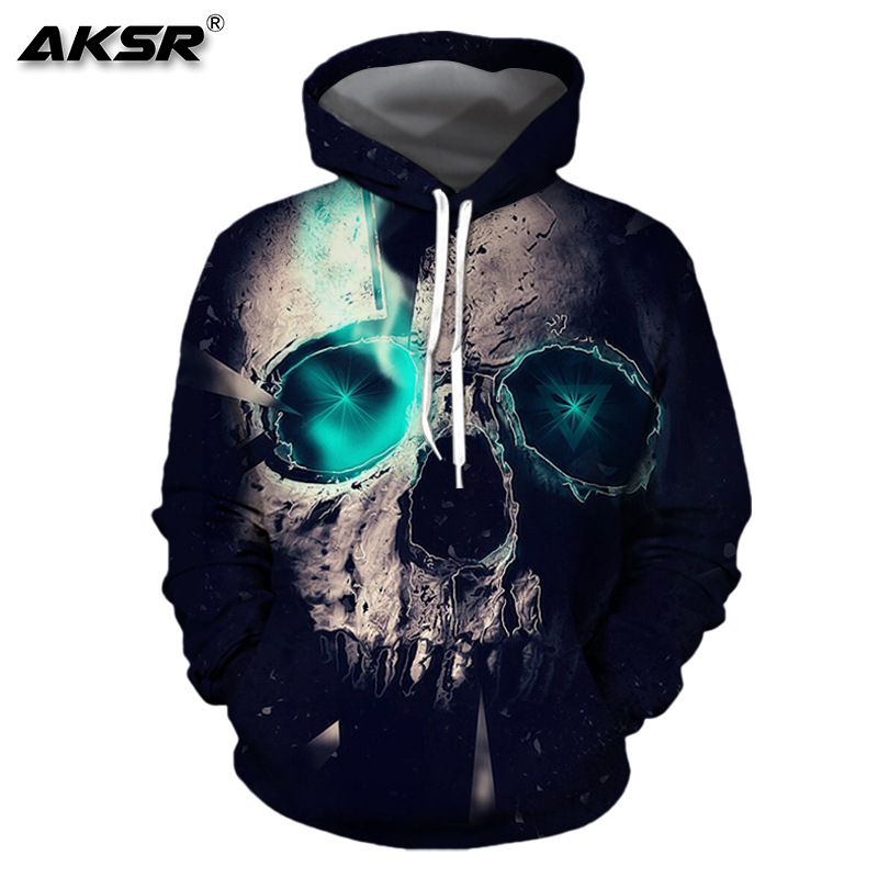 AKSR Men 3D Hoodies Skulls Streetwear Hip Hop Hooded Sweatshirt Sports Wear Funny Hoodies Men Pullover 3D Sweatshirt Sudaderas