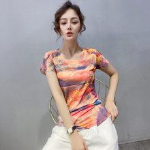 #5987 Summer Printed T Shirt Women O Neck Casual Vintage Basic T Shirt Female Short Sleeve Korean Fashion Tee Shirt Vogue Thin