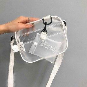 Women's Fashion Bag Korean-Style Transparent Frosted Beach Bag Square Sling Bag Simple Artistic Shoulder Messenger Bag