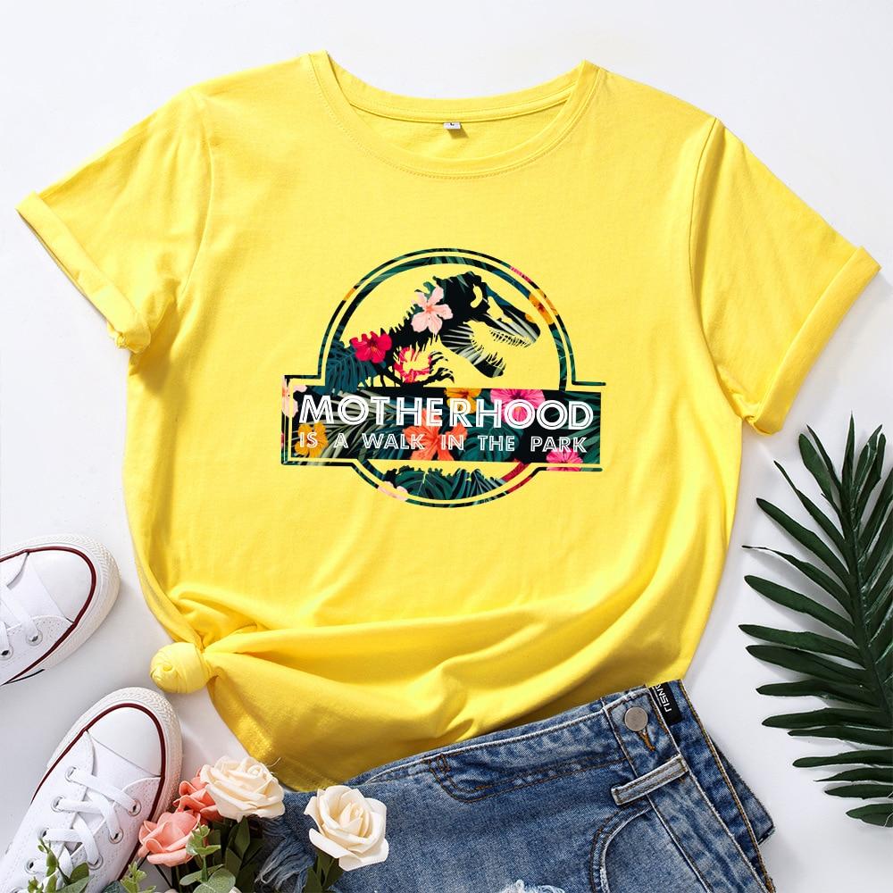 JFUNCY Casual Cotton T-shirt Women T Shirt Motherhood Letter Printed Oversized Woman Harajuku Graphic Tees Tops 7